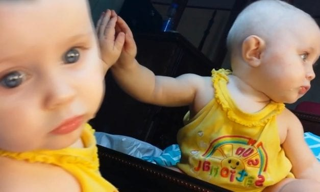 Cute Baby Girl Kisses Mirror and Enjoys her Mirror Reflection [NEW HD VIDEO]