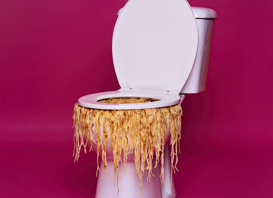Artist Create Conceptual Art By Combining Daily Objects And Spaghetti