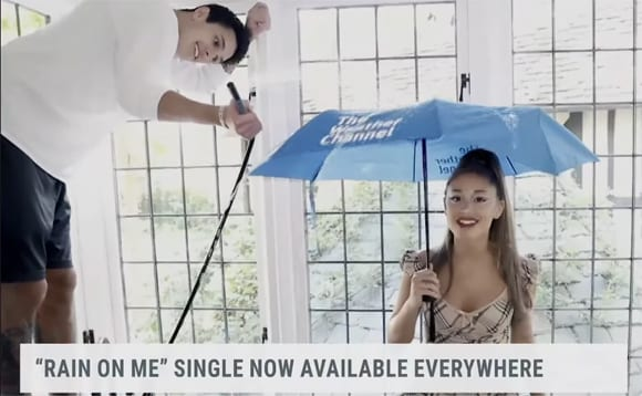 Ariana Grande's Boyfriend Dalton Gomez Steals The Spotlight Along with Adorable Cameo In Woman GaGa Weather Channel Movie!