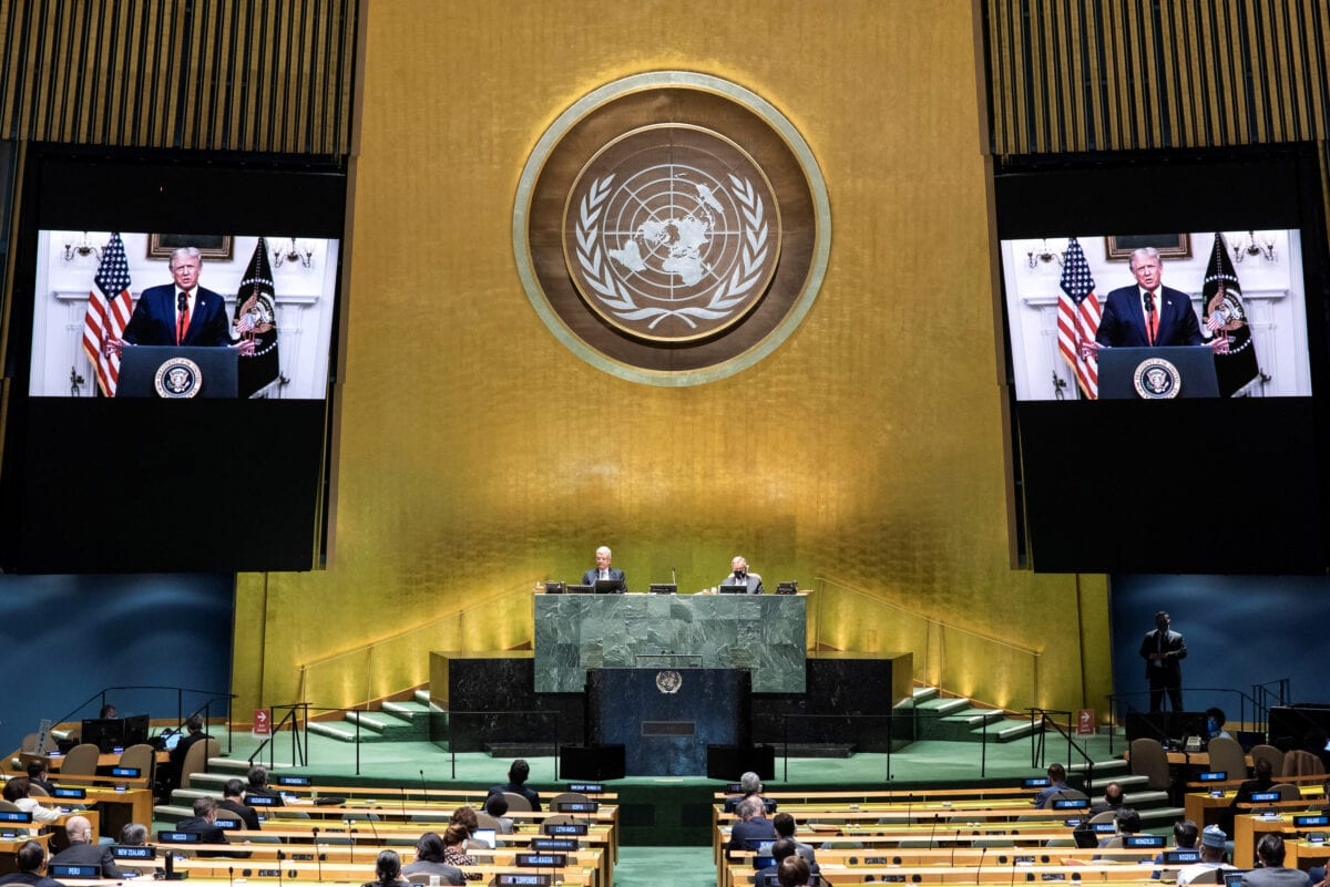 U. S. Chief executive Donald Trump speaks throughout the 75th annual U. And. General Assembly